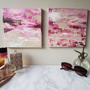 """Two 10""""x10"""" Original Abstract Paintings"""
